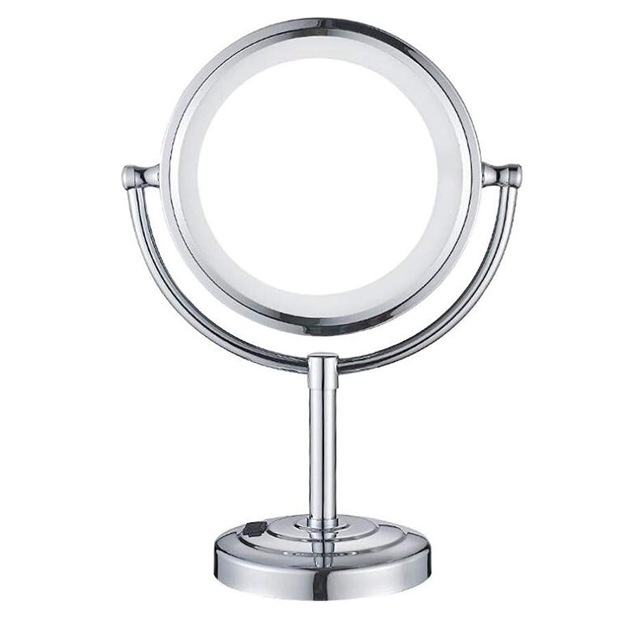 暖かく中世のあらゆる種類のHUYYA シェービングミラーカウンタートップ、バスルームメイクアップミラー 3 倍拡大鏡 バニティミラー 両面 化粧鏡 丸め 寝室や浴室に適しています Powered by Plug,Chrome_8.5inch