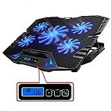 TopMate C5 10-15.6 Pulgadas Gaming Laptop Cooler Cooling Pad, 5 Ventiladores silenciosos y Pantalla LCD, 5 ajustes de Altura, 2 Puertos USB y luz LED Azul