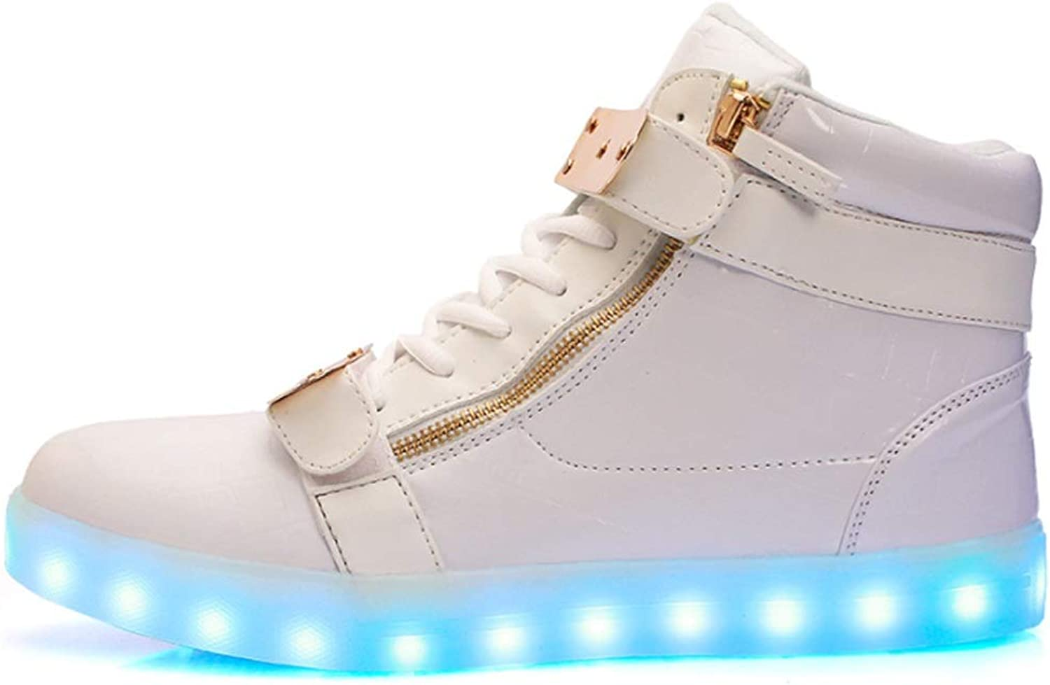 LED shoes High shoes USB Charging colorful shoes Men and Women Casual shoes (color   A, Size   36EU)