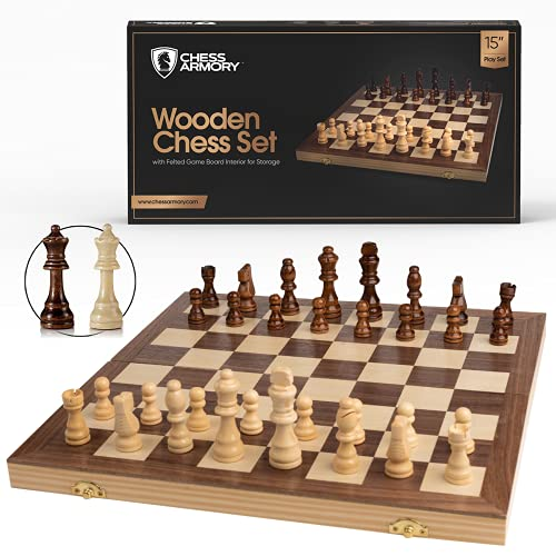 Chess Armory Chess Set 15' x 15'- Inlaid Walnut Wooden Chess Set with Folding Chess Board, Staunton Chess Pieces, & Storage Box - Chess Set Wood Board Game