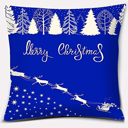 JBDGNZ Serie de Navidad Azul Almohada Regalo Decoración de Oficina en casa Almohada Dormitorio Sofá Funda de cojín de Coche Funda de Almohada de Lino, Estilo, 5,45cmX45cm