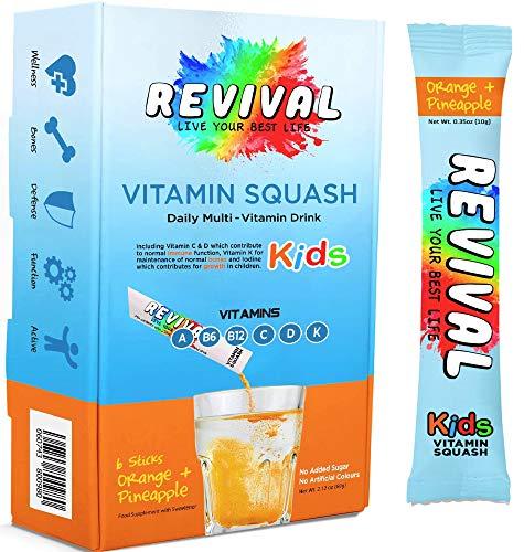 Revival Kids Vitamins Squash Drink - Multivitamin D, A, C, K, B6, B12 - Immunity, Growth, Development - Pineapple Orange Juice 6 Pack