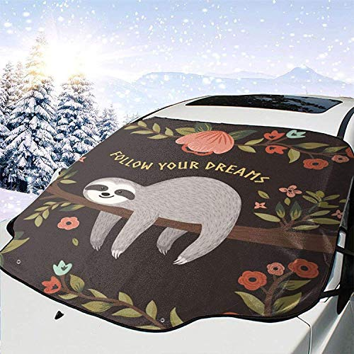 MODORSAN Cute Cartoon Sloth Follow Dreams Windshield Sunshade Snow Cover para SUV Car Parabrisas Delantero Plegable Universal Auto Sun Shade Visor Cover para prevenir el Calor en el Exterior