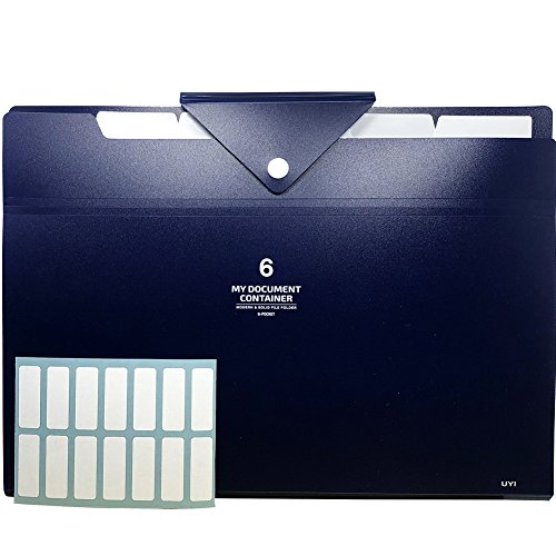 6 Pockets Expanding File Folders with 2 Pack Labels- Letter Size & A4- Navy Blue Color with Triangle Closure- Portable Accordion Organizer for School Work, Office Document and Receipts by PheoGood