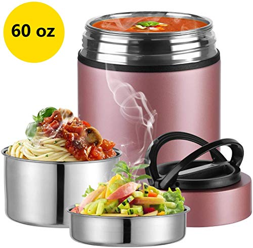 2020 Upgraded Insulated Food Storage Container Thermos, KKD Food Jar Stainless Steel Vacuum Soup Lunch Flask, Leak Proof Hot Cold Food for Office Workers, Picnic, School