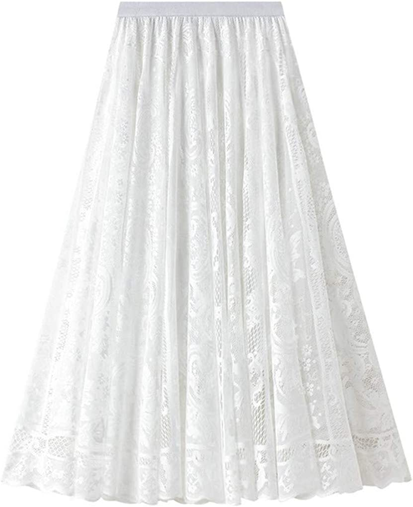 Women's Tutu Tulle Pleated Skirts Elastic High Waist Floral Print Mesh A-line Swing Skirt Flared Midi Maxi Skirts