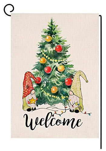 Bienvenida Árbol de Navidad Gnomos Jardín Bandera Vertical 12x18 Doble Cara Invierno Granja Acuarela Patio Decoraciones al aire libre (114253)