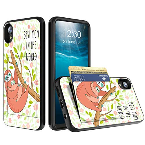 for Moto E6 Phone Case, BEROSET Credit Card Holder Wallet Dual Layer Full Body Shockproof Protective Phone Case Cover for Motorola Motorola Moto E6 2019 Release,Best Mom in The World Sloth