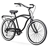sixthreezero Around The Block Men's 7-Speed Beach Cruiser Bicycle, 24' Wheels, Matte Black with Black Seat and Grips