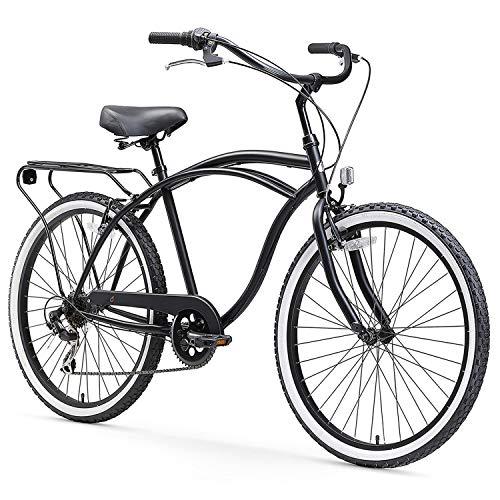 "sixthreezero Around The Block Men's 7-Speed Beach Cruiser Bicycle, 24"" Wheels, Matte Black with Black Seat and Grips"