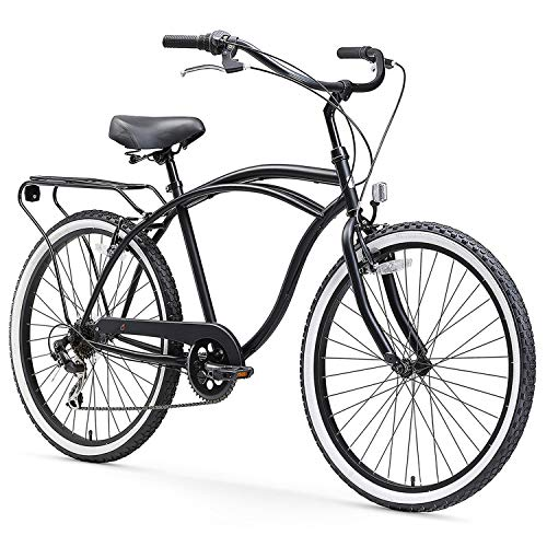"sixthreezero Around The Block Men's 7-Speed Beach Cruiser Bicycle, 24"" Wheels, Matte Black with Black Seat and Grips"
