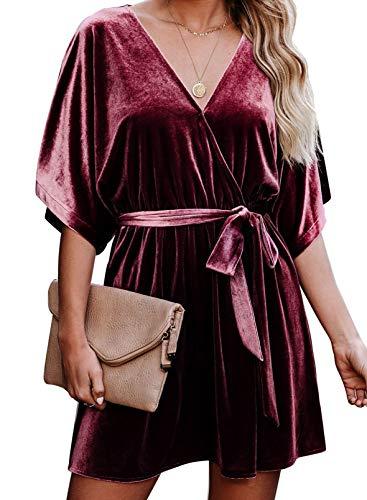 FOBEXISS Vestido de manga corta para mujer, vestido de cintura con lazo de color sólido para mujer, vestido sexy con cinturón para mujer
