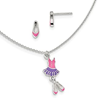Sterling Silver Polished Enameled Ballerina 14inch Necklace and Earrings Set