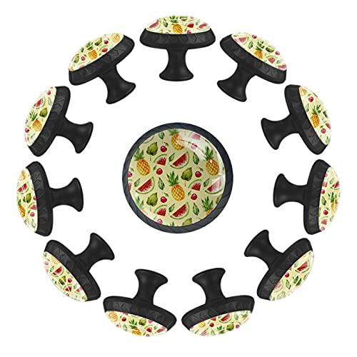 (12 piezas) pomos de cajón para cajones, tiradores de cristal para gabinete con tornillos para armario, hogar, oficina, armario, verano, fruta, sandía, piña, 35 mm