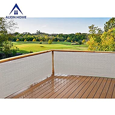 Alion Home Elegant Windscreen Privacy Screen For Deck, Pool, Railing, Backyard Deck, Patio, Fence, Porch - Smoke Grey (3' x 16')