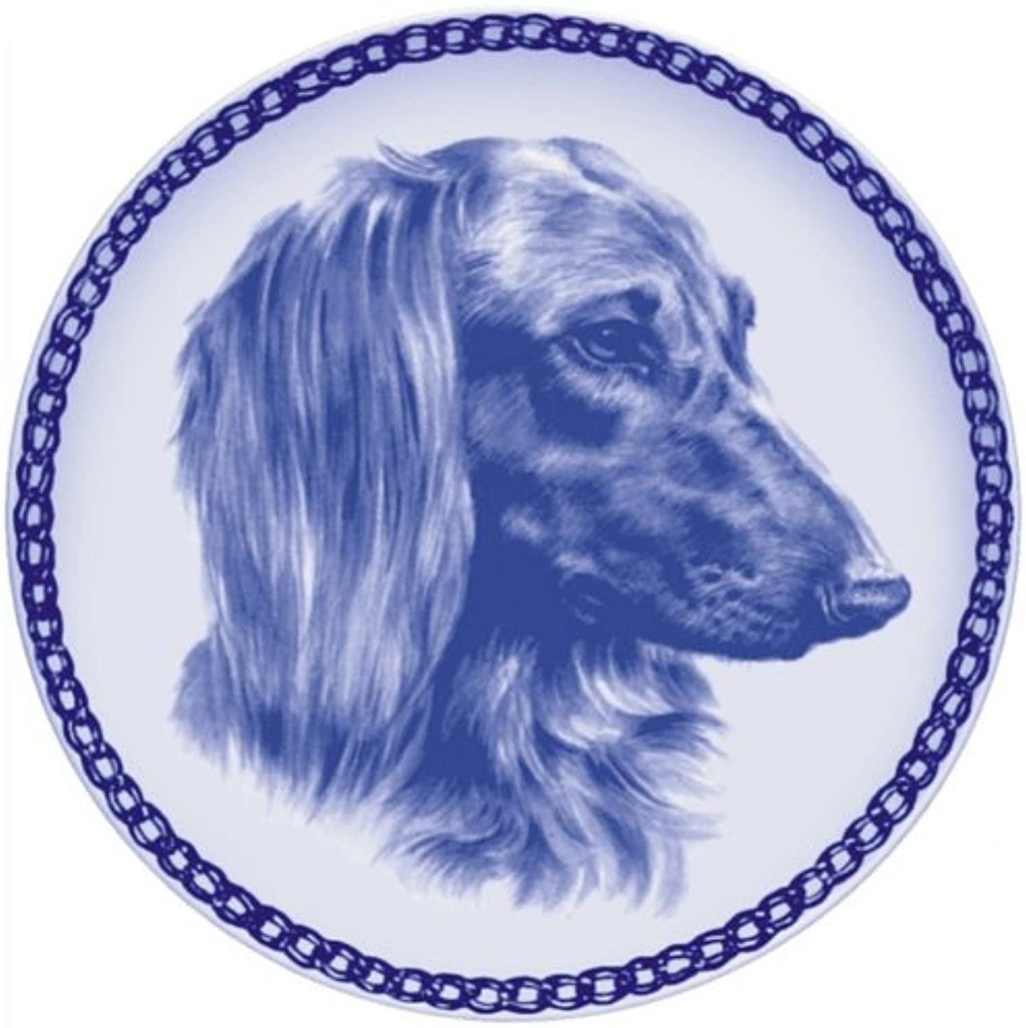 Dachshund  Longhaired Lekven Design Dog Plate 19.5 cm  7.61 inches Made in Denmark NEW with certificate of origin PLATE  7553