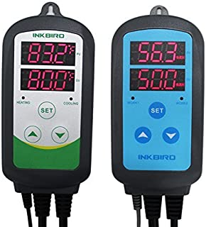 Inkbird ITC-308 Temperature Controller with IHC-200 Humidity Controller with Outlet for Mushroom Humidifier Dehumidifier Reptile Planting Home Brewing