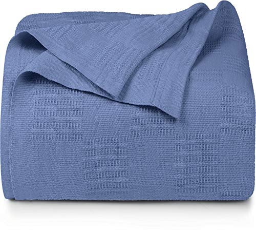 Utopia Bedding Premium Cotton Blanket King Wedgewood - Soft Breathable Thermal Blanket - Ideal for Layering Any Bed