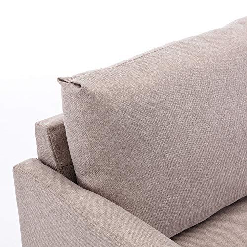 jeerbly Sofa 3 Sitzer, Couch mit Bezug aus Leinenimitat, Beliebige Kombination von Sofa, Best Ecksofa,Polstermöbel für kleine Wohnungen, Gästezimmer, Jugendzimmer, mit Holzgestell
