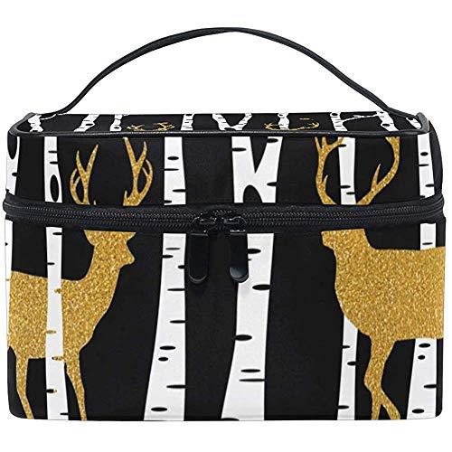 Sac à cosmétiques, Golden Deer Travel Makeup Organizer Bag Cosmetic Case Portable Train Case for Women Girls