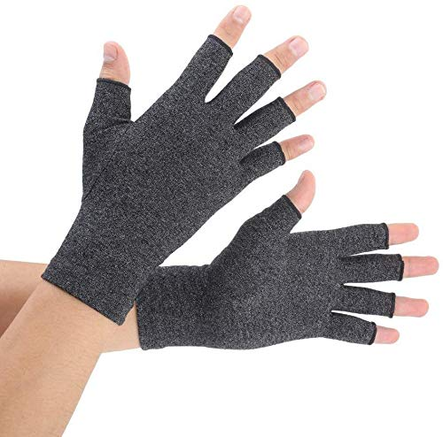 David Copper Compression Cotton Arthritis Gloves. Best Copper Infused Glove for Arthritis Hands, Arthritic Fingers, Carpal Tunnel, Computer Typing, Hand Support. Fingerless for Women and Men. (Large)