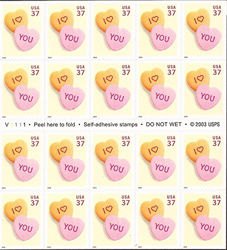 USPS Love You Candy Hearts Stamp Booklet of Twenty 37 Cent Stamps Scott 3833
