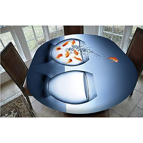 Mantel elástico resistente a las manchas, Little Brave Goldfish saltando un pecera a otro mantel decorativo, apto para mesas ovaladas de 24 x 122 cm, perfecto para la protección de la mesa.
