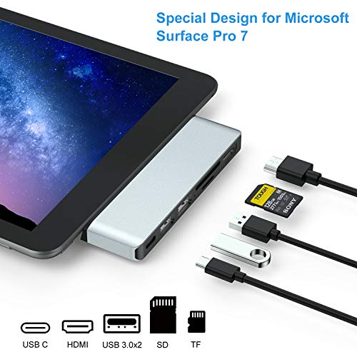 Surface Pro 7 Hub Docking Station, 6-in-2 Aluminum Surface Pro 7 USB C Hub with 4K HDMI Adapter, Type C Port, 2x USB 3.0 Port, SD/TF Card Reader for Microsoft Surface Pro 7