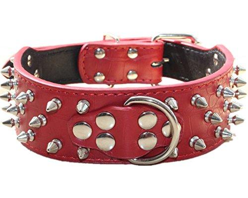 haoyueer Collar de perro de cuero con tachuelas de bala de 5 cm de ancho, elegantes collares de perro para perros medianos y grandes Pitbull … (M, rojo)