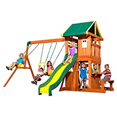 One of our most popular swing sets for children featuring both an upper fort covered by a colorful canopy and a lower play fort with slide, 2 belt swings and a trapeze swing Heavy duty canopy swing set, with a colorful green and yellow striped canopy...