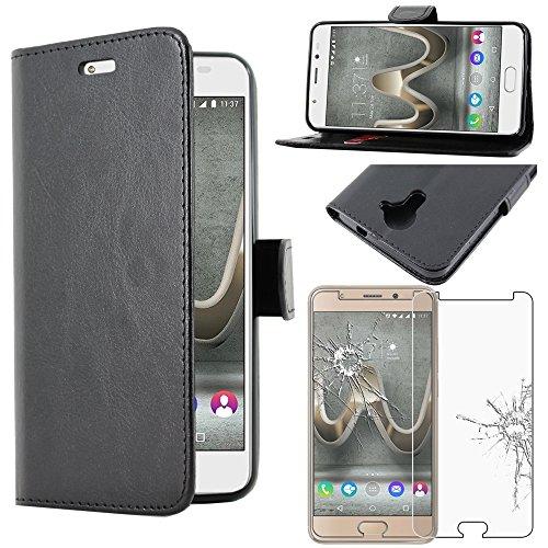ebestStar - Cover Compatibile con Wiko U Feel Prime Custodia Portafoglio Pelle PU Protezione Libro Flip, Nero + Pellicola Vetro Temperato [Apparecchio: 142.5 x 69.9 x 8.7mm, 5.0'']