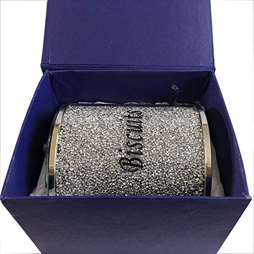 Tarro para galletas de plata con diamantes triturados en forma de tarro de lata para cocina, adornos plateados, relleno de cristal, regalo ideal BISCUIT JAR- LARGE plata