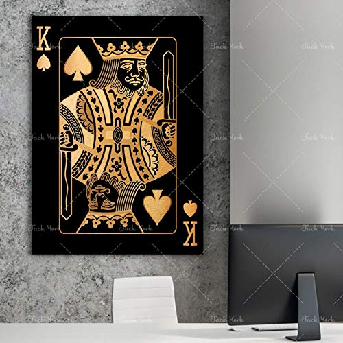 WFUBY Decorative Paintings 3 Pieces Canvas Printing Wall Art Abstract Gold and Silver Playing Cards King Queen and Jack hd Print Club Club bar Restaurant Decoration Poster[No Frame]