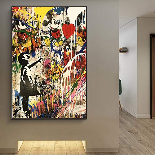 SHENLANYU Mädchen mit Ballon Graffiti Kunst Wandkunst Leinwanddruck auf Leinwand Poster und Drucke Modernes Wohnzimmer Wohnkultur 50 x 80 cm (19,6