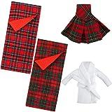 Skylety Ensemble de Sac de Couchage Poupée Elfe de Noël Vêtements d'anniversaire d'Elf Noël Accessoire de Sac de Couchage Écossais Rouge pour Décoration de Poupée Elfe (Robe à Carreaux)