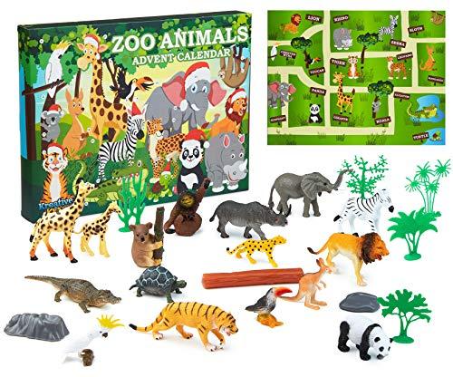 KreativeKraft Calendrier De L'avent Enfant avec Animaux du Zoo, Calendriers De Noël pour Enfants Garçon Ou Fille avec 24 Jouets À Découvrir