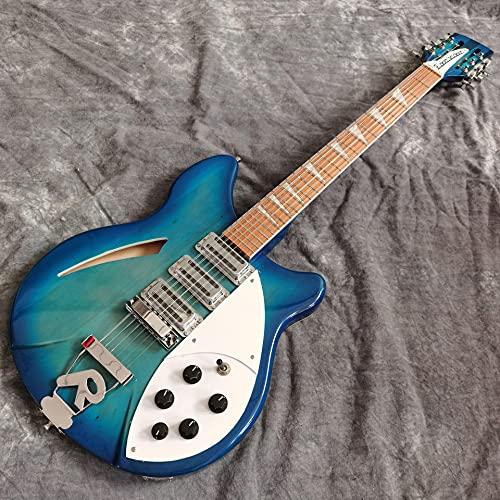 KEPOHK Guitarra eléctrica, 3 pastillas, color azul, cuerpo hueco, Jazz Gitaar, diapasón...