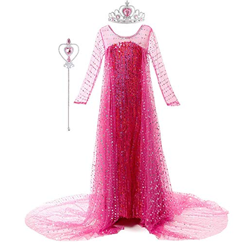 O.AMBW Elsa Disfraz niña Princesa Vestido Nieve Reina 2 Rosa Rojo Brillo Vestido de Manga Larga Halloween Carnaval Cosplay Disfraz de cumpleaños con mantón de Tul y Corona Varita Disfraz