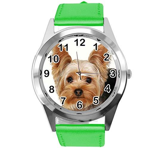 Reloj analógico de Cuarzo con Correa de Piel auténtica, Redondo, para los Fans de York Terrier
