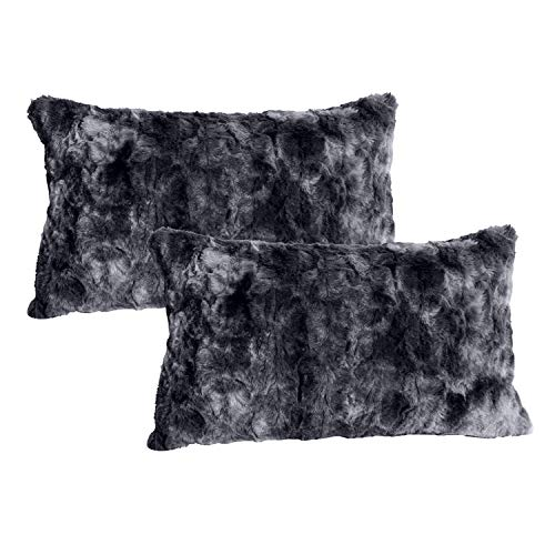 softan Luxury Faux Fur Throw Pillow Cover, Decorative Plush Minky Fleece Cushion Case, Super Soft Fluffy Plush Pillowcase with Zipper Closure, 30cm×50cm, Black, 2 Pack