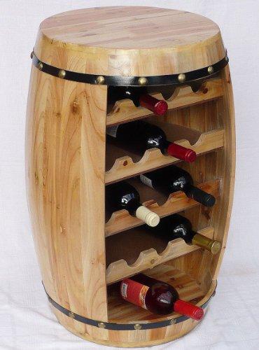 DanDiBo Weinregal Weinfass Fass aus Holz H-70 cm Nr.0371 Flaschenständer Regal Naturlack
