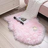 HEQUN Faux Lammfell Schaffell Teppich Kunstfell Dekofell Lammfellimitat Teppich Longhair Fell Nachahmung Wolle Bettvorleger Sofa Matte (Rosa, 50 X 80 cm)