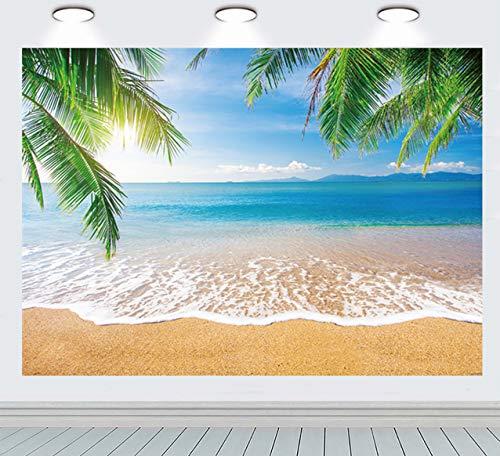 INRUI Fondo de fotografía tropical playa verano palmeras telón de fondo azul mar cielo sol Luau temático telón de fondo