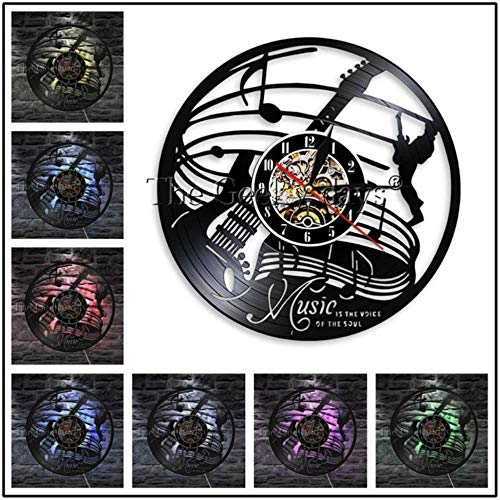 MNHI Musikinstrument Schallplatte Wanduhr Modernes Design Gitarren- und Schlagzeug-Kits Rockmusik LED-Uhr Wanduhr Home Decor, D-7 LED-Farbe