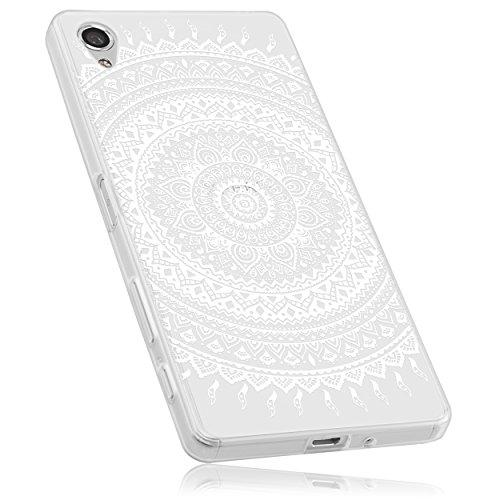 mumbi Hülle kompatibel mit Sony Xperia X Handy Hülle Handyhülle mit Motiv Mandala Weiss, transparent