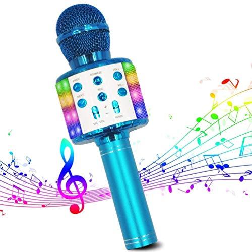 Micrófono de Karaoke Inalámbrico, Bluetooth Micrófono 4 en 1 Reproductor de Karaoke Portátil con Luces LED de Baile Compatible con Dispositivos Android e iOS para KTV en Casa/Fiestas/Canto de Niños
