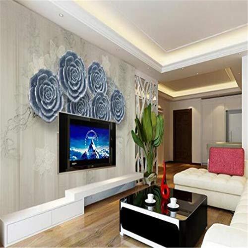 Behang aangepaste 3D fotobehang voor de woonkamer Mural lichtblauw bloemen 3D schilderij tv-achtergrond 3D muur Mural behang voor de woonkamer 400 x 280 cm.