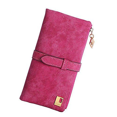 EQLEF in Pelle Nubuck Lunga Cerniera Borsa del Portafoglio delle Donne di Modo di Lady Portafogli (Rosa Rossa)