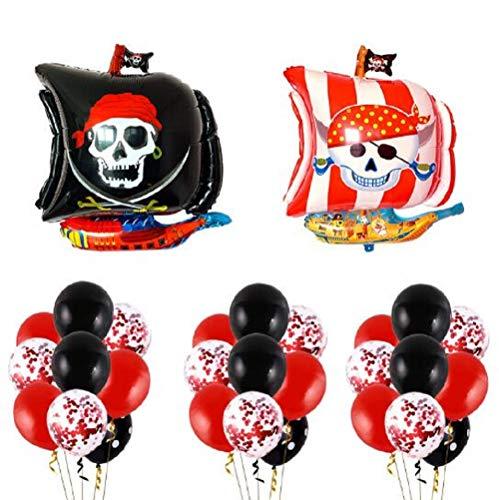 FANDE Decorazioni per Feste di Compleanno dei Pirati, 30 Pezzi Palloncini Pirata Palloncino Nave Pirata Palloncini in Lattice e Palloncini in Stagnola per Forniture per Feste a Tema Pirata