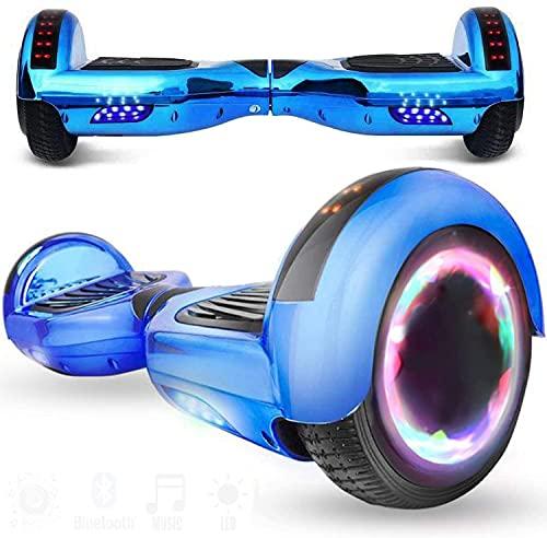 HappyBoard Hoverboard - 6.5' - Bluetooth - Motor 700 W - Velocidad 15 km/h - LED - Patinete Eléctrico Auto-Equilibrio - para niños y Adultos - Azul Cromo